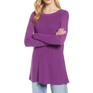 Halogen Purple Split Back Tunic Sweater
